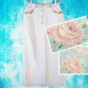 VTG Susan Bristol Pastel Roses Denim Midi Skirt